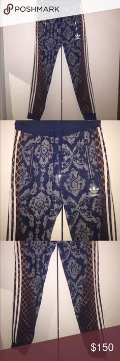 Rare Adidas denim brocade sweatpants Rare style. Denim stretch brocade with orange honeycomb accents. Silver zips. Size men's small adidas Pants Sweatpants & Joggers