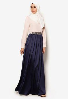 Embellished Colourblock Maxi Dress
