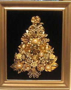 Vintage Jewelry Framed Christmas Tree Golds and Pearls OOAK Folk Art | eBay