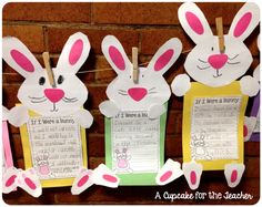 (A Cupcake for the Teacher) Bunny Hoppin' in First Grade!Bunny Hoppin' in First Grade! Easter Arts And Crafts, Bunny Crafts, Easter Projects, Spring Crafts, Easter Ideas, Egg Crafts, Spring Art, Kindergarten Crafts, Classroom Crafts