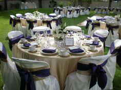 Back yard wedding, gold and purple
