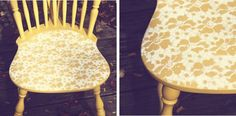 Creative idea to upcycle old chairs by stenciling seats