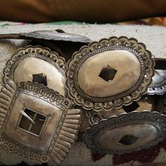 "gregthorneturquoise: "" Concho belt by silversmith Greg Thorne. """