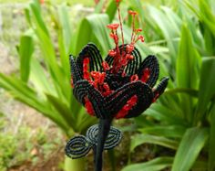 Black and Red French Beaded Flower