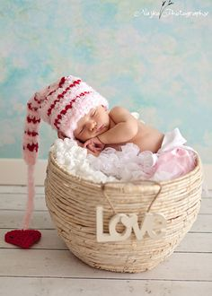 Striped Valentine Elf  Hat Baby Photography by BabiesBugsAndBees, $24.99 Photo idea--love the basket w sign.