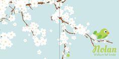 Geboortekaartje: Groen vogeltje met bloesem - voorkant
