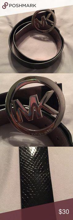 Michael Kors Medium Black Belt Simple but beautiful black belt by Michael Kors. Large MK buckle. Perfect addition to your closet. MICHAEL Michael Kors Accessories Belts