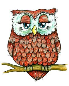 Red Owl - Ink and Watercolor Feathery Friend