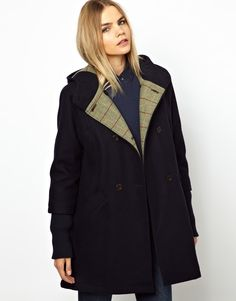 Parka London Scarlett Wool Swing Coat with Hood and Knitted Cuff