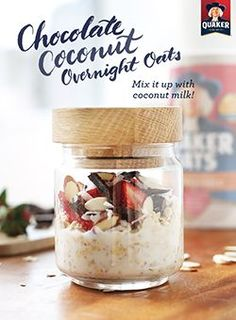 Did you know you can use different liquids as the base of overnight oats? Next time you mix up your favorite recipe, try a milk alternative or yogurt! Give Quaker® Chocolate Coconut Overnight Oats a try.