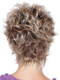 Short Hair Wigs 2018 Silver Tousled Curly Synthetic Wigs For Women Short Choppy Hair, Short Curly Wigs, Short Shag Hairstyles, Short Layered Haircuts, Short Hair With Layers, Short Blonde, Short Hair Cuts For Women, Short Hairstyles For Women, Wig Hairstyles
