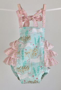 aaef758ce In Stock and Ready to Ship Mint Unicorn Ruffled Toddler Romper, Ritzy Baby  Romper, Baby Pink Baby Romper, Toddler Romper, Ruffled Romper
