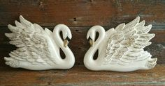 Vintage Chalkware Swans Wall Decor, Miller Studios Chalkware Swans Wall Plaques, by EmptyNestVintage on Etsy