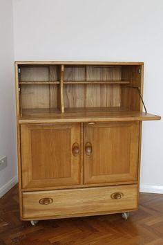 Ercol Windsor Light Elm Server, Bureau or Desk type Cabinet (Model 469)