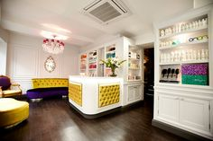 Reception & hair product area at Royston Blythe Caffeine fix or product advice, we aim to please