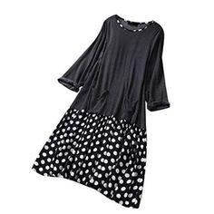 Womens Tea Dress,NEWONESUN Ladies V Neck Ruffle Dot Print Bell Sleeve Cocktail Party Sheath Vintage Pencil Dress