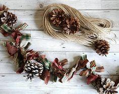 Christmas garland, rag garland, pine cone garland, hand tied garland , primative rag garland, homespun garland, country style garland