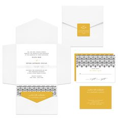 Pocket Wedding Invitations -- Ribbon Seal Ensemble | Pear Tree Greetings