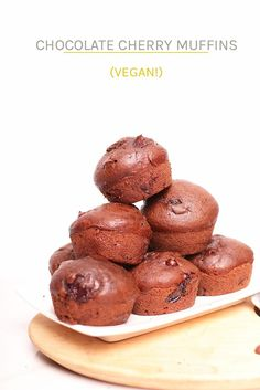 vegan Double Chocolate Cherry Muffins are so quick and easy to make. And, bursting with chocolate and cherry in every bite, they are delicious. Make them in under 30 minutes for a sweet morning pastry or chocolate afternoon snack. Vegetarian Breakfast Recipes, Vegan Dessert Recipes, Delicious Vegan Recipes, Baking Recipes, Eggless Desserts, Muffin Recipes, Vegan Treats, Vegan Snacks, Vegan Food