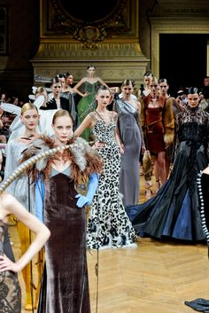 All of Alexis Mabille's Fall 2011 dresses are based of of the animals in La Fontaine's fables.  This is a show worth researching.
