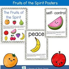 Each fruit of the Spirit has its own poster including a title page with Galatians Each poster also includes the two Bible verses. Teaching Schools, Elementary Schools, Teaching Resources, Teaching Ideas, Interactive Board, Christian Resources, Fruit Of The Spirit, Bible Lessons, Anchor Charts