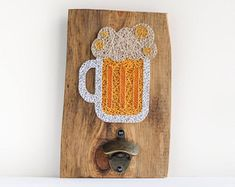 Wooden wall mount beer bottle opener made on reclaimed wood plank with beer mug string art decor, perfect for beer lover, man cave decor