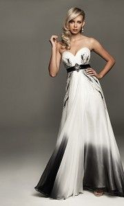 long black white homecoming prom dress