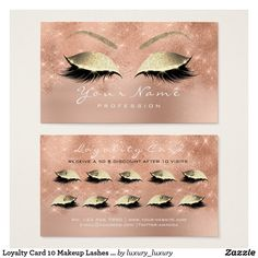 Loyalty Card 10 Makeup Lashes Rose Gold Glitter