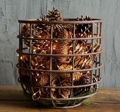 Rustic farmhouse Christmas decor christmas tree #wirebasket #basketstorage #pinecones #Christmas #christmasgift #Christmastree #Christmaslights #Christmasdecor #seasonaldecor #holiday #winter #homedecor #diydecor #afflink #az