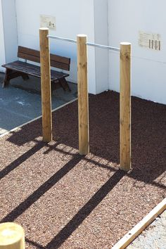 Wooden exercise equipment for a school playground