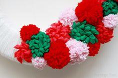 Pom poms and flowers on wreath Pom Pom Wreath, Diy Wreath, Pom Poms, Dinner Party Favors, Vintage Fashion, Vintage Style, Jingle Bells, Christmas Wreaths, Christmas Ideas