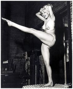 burleskateer:    On a backstage table, Lily Ayers kicks a lovely leg up!  An early promo photo taken by Bruno Bernard of Hollywood..