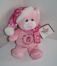 """Dan Dee Stuffed Animal My First Christmas Pink Teddy Bear polka dot plush 9"""" toy #DanDee #Christmas #MyFirstChristmas #SoftToy #TeddyBear #BabyGirl"""