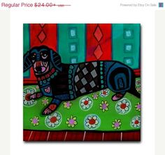 Surprise 50% OFF Sale- Dachshund art Doxie Tile Ceramic Coaster Print of painting by Heather Galler dog Gift