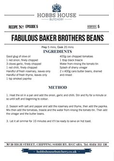 The Fabulous Baker Brothers: Beans - Hobbs House Bakery - Episode 5 Beans On Toast, Bakery Supplies, 5 Recipe, Bakery Recipes, Baked Beans, Everyday Food, Hobbs, Sweet Treats, Brother
