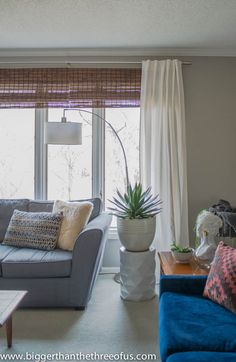 This step-by-step tutorial will show you how to cut bamboo blinds to size using off the rack inexpensive blinds. Massage Room Decor, Blue And White Living Room, Bamboo Shades, Bamboo Blinds, Window Coverings, Windows And Doors, Diy Home Decor, Curtains, House