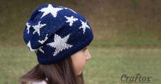 A fashionable, stylish hat with a Star pattern, knitted in Jacquard technique. Yarn of two colours was used for the product - blue and white. The hat was knitted for a girl, but I think, such a model will be suitable for a boy, too.