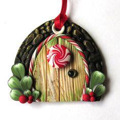 Elf Door Ornament Christmas Tree Ornament Holiday by Claybykim