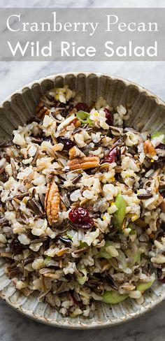 Wild rice salad with cranberries, pecans, green onions, orange zest, and wild rice!  A perfect holiday side! ~ SimplyRecipes.com