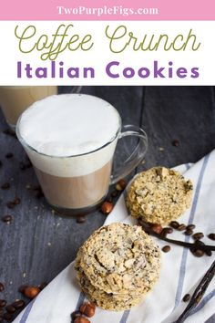These Coffee Crunch Italian Cookies are light as air, delicately crispy, loaded with chunks of coffee beans and hazelnuts, and not too sweet! The best thing? They are easy to make and only require a handful of ingredients! #cookies #italiancookies #crunchcookies #easyrecipe | twopurplefigs.com @twopurplefigs