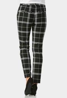 Contrast Plaid Pencil Pants - CATO
