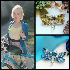 Updates from PandaknitJewelry on Etsy Blue Dragonfly, Swarovski Jewelry, Handmade Accessories, Beaded Embroidery, Fashion Looks, Brooch, Gemstones, Beads, Yellow