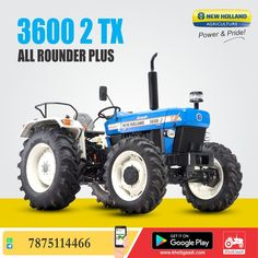 New Holland 3600-2 TX All Rounder PLUS ✔️HP: 50HP ✔️No. of cylinder: 3 Cylinder ✔️Gear Box Type: 8 Forward + 2 Reverse पूरी जानकारी मिलेगी यहाँ ➡️ #KhetiGaadi #AllRounderPlus #NewHollandAgriculture #TractorPrice