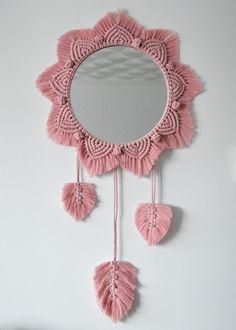 Macrame Mirror, Macrame Cord, A Hook, Wooden Beads, Dusty Pink, House Warming, Crochet Earrings, Mandala, My Etsy Shop