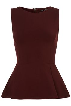 Burgundy sleeveless peplum with zip up back, from http://us.topshop.com $36