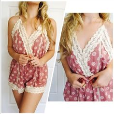Gorgeous Floral Tie up Romper w/ Adjustable Straps This romper is Sexy & Sweet! A definite MUST HAVE! Drape with a cardigan & put some booties on! So cute! You will LOVE this piece! Also available in Baby Blu  Sizes available on S & M Please do not purchasing this listing! Comment Size and I will personally make you one! Xo Bohemian Sea Other