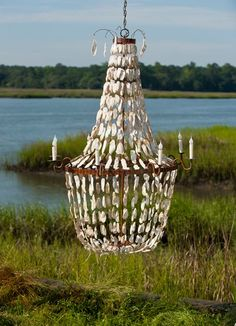 Low Country Lighting uses natural materials like marsh woods and oyster shells to create some truly unique and beautiful pieces. Cool Lighting, Outdoor Lighting, Southern Sweet Tea, Southern Cottage, Simply Southern, Shell Chandelier, Chandeliers, Birds And The Bees, Oyster Shells