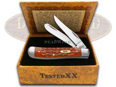CASE XX Brass Shield Red Jigged Bone Mini Trapper Pocket Knife & Cigar Box - CA30617   30617 - 021205306179