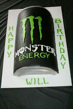 Monster energy drink birthday cake.
