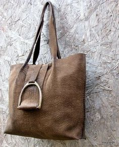 Rustic Chocolate Brown Leather Equestrian Stirrup Bag by Stacy Leigh via Etsy MXS